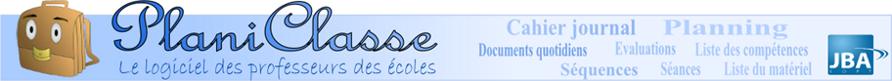 Bandeau de Planiclasse : Le logiciel des professeurs des écoles proposé par JBA Soft